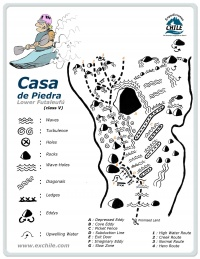 A detailed sketch illustrating the key kayak lines of Casa de Piedra