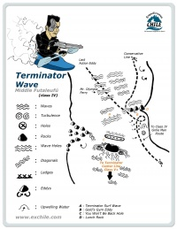 A detailed sketch illustrating the key kayak lines of Terminator Wave