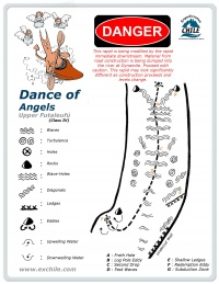 A detailed sketch illustrating the key kayak lines of Dance of Angels