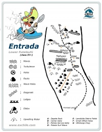 A detailed sketch illustrating the key kayak lines of Entrada
