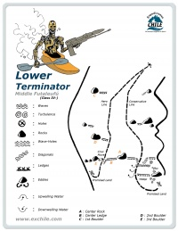 A detailed sketch illustrating the key kayak lines of Lower Termination