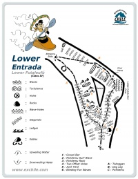A detailed sketch illustrating the key kayak lines of Lower Entrada